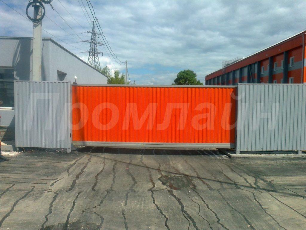 Ворота сдвижные промышленные из профнастила