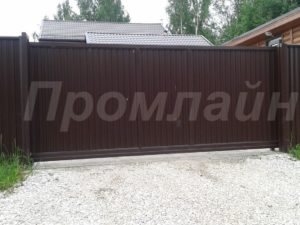 откатные ворота из профнастила Промлайн